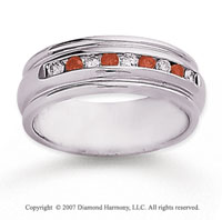 14k White Gold Channel 2/5 Carat Red Diamond Ring