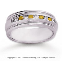 14k White Gold Channel 2/5 Carat Yellow Diamond Ring
