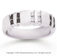 14k White Gold Channel Round 1/2 Carat Black Diamond Ring
