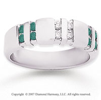 14k White Gold Channel Round 1/2 Carat Green Diamond Ring
