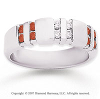14k White Gold Channel Round 1/2 Carat Red Diamond Ring
