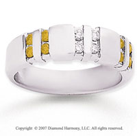 14k White Gold Channel Round 1/2 Carat Yellow Diamond Ring