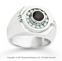 14k White Gold Channel Round 1 1/4 Carat Black Diamond Ring