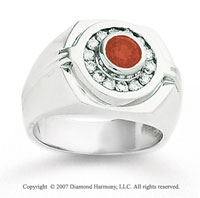 14k White Gold Channel Round 1 1/4 Carat Red Diamond Ring