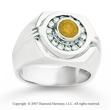 14k White Gold Channel Round 1 1/4 Carat Yellow Diamond Ring
