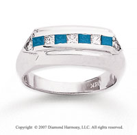 14k White Gold Fashionable 4/5 Carat Blue Diamond Ring