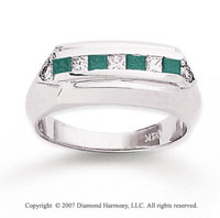 14k White Gold Fashionable 4/5 Carat Green Diamond Ring