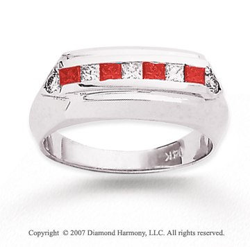 14k White Gold Fashionable 4/5 Carat Red Diamond Ring