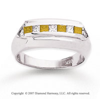 14k White Gold Fashionable 4/5 Carat Yellow Diamond Ring