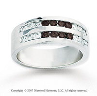 14k White Gold Round 1.60 Carat Black Diamond Ring