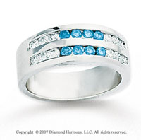 14k White Gold Round 1.60 Carat Blue Diamond Ring