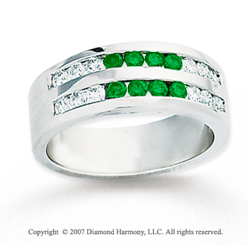 14k White Gold Round 1.60 Carat Green Diamond Ring