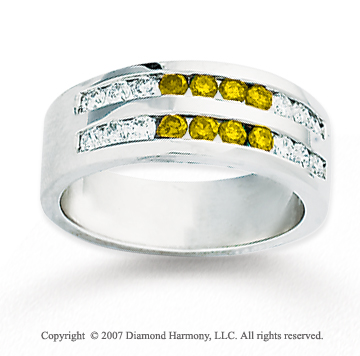 14k White Gold Round 1.60 Carat Yellow Diamond Ring