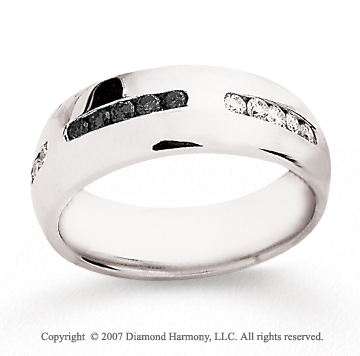 14k White Gold Round 1/2 Carat Black Diamond Ring