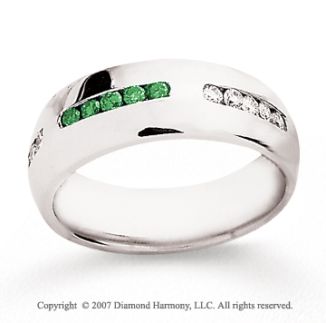 14k White Gold Round 1/2 Carat Green Diamond Ring