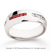 14k White Gold Round 1/2 Carat Red Diamond Ring