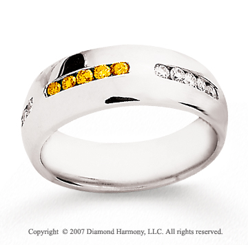 14k White Gold Round 1/2 Carat Yellow Diamond Ring