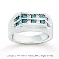 14k White Gold Princess 1.80 Carat Blue Diamond Ring
