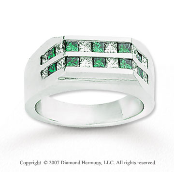 14k White Gold Princess 1.80 Carat Green Diamond Ring