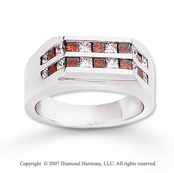 14k White Gold Princess 1.80 Carat Red Diamond Ring