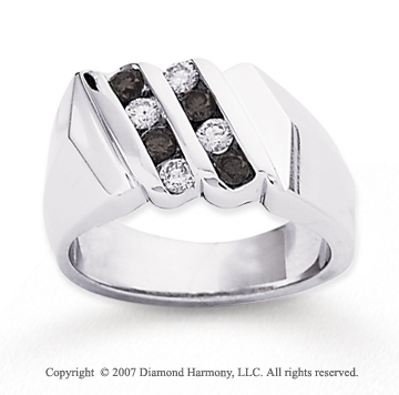 14k White Gold Round 2/3 Carat Black Diamond Ring