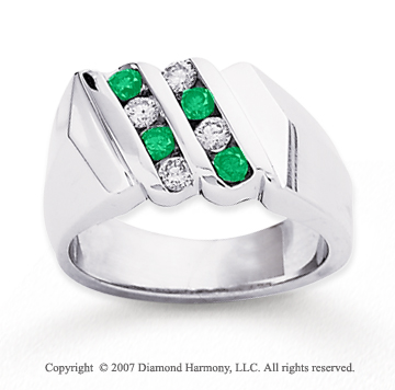 14k White Gold Round 2/3 Carat Green Diamond Ring