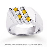 14k White Gold Round 2/3 Carat Yellow Diamond Ring