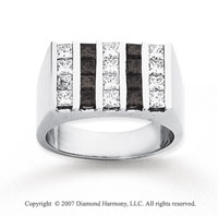 14k White Gold Princess 2.50 Carat Black Diamond Ring