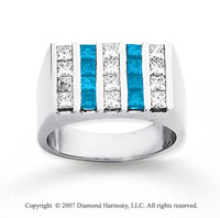 14k White Gold Princess 2.50 Carat Blue Diamond Ring