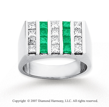 14k White Gold Princess 2.50 Carat Green Diamond Ring