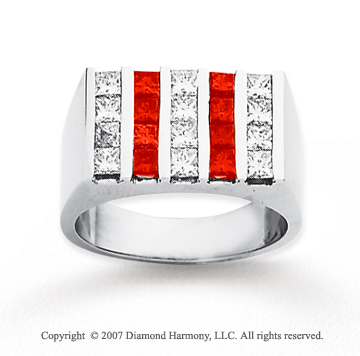14k White Gold Princess 2.50 Carat Red Diamond Ring
