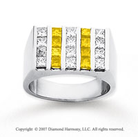 14k White Gold Princess 2.50 Carat Yellow Diamond Ring