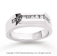 14k White Gold Modern Channel 4/5 Carat Men's Diamond Ring