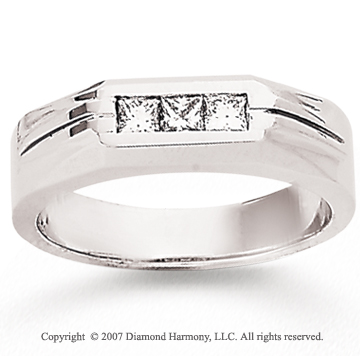 14k White Gold Princess 0.40 Carat Men's Diamond Ring