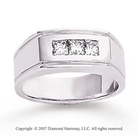 14k White Gold Modern Channel 1/2 Carat Men's Diamond Ring