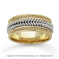 14k Two Tone Gold Milgrain Hand Carved Wedding Band
