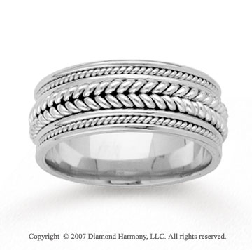 14k White Gold Milgrain Fine Hand Carved Wedding Band