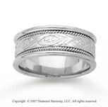 14k White Gold Classic Fashion Hand Carved Wedding Band