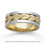 14k Two Tone Gold Elegant Leaf Hand Carved Wedding Band