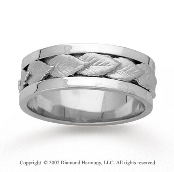 14k White Gold Elegant Leaf Hand Carved Wedding Band