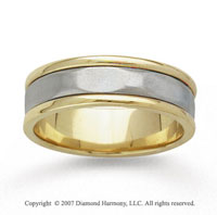 14k Two Tone Gold Plain Style Hand Carved Wedding Band