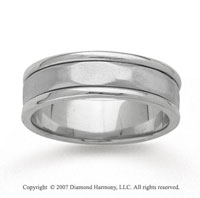 14k White Gold Plain Style Hand Carved Wedding Band