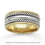 14k Two Tone Gold Classic Rope Hand Carved Wedding Band