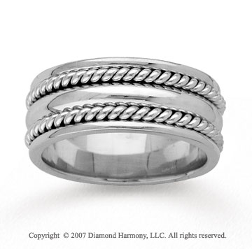 14k White Gold Classic Rope Hand Carved Wedding Band