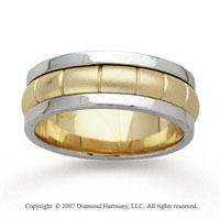 14k Two Tone Gold Fine Pattern Hand Carved Wedding Band