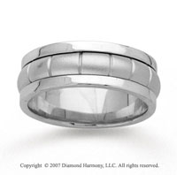 14k White Gold Fine Pattern Hand Carved Wedding Band