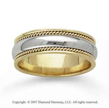 14k Two Tone Gold Smooth Milgrain Hand Carved Wedding Band