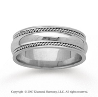 14k White Gold Smooth Milgrain Hand Carved Wedding Band