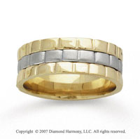 14k Two Tone Gold Brick Style Hand Carved Wedding Band