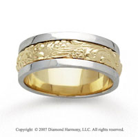 14k Two Tone Gold Fine Elegance Hand Carved Wedding Band